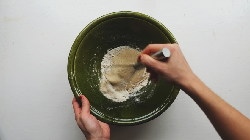 mug cake above making